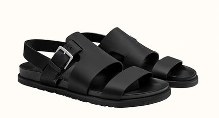 HERMES Plain Leather Sandals