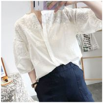 Casual Style Cotton Lace Office Style Elegant Style
