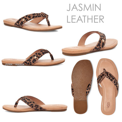 UGG Australia Leopard Patterns Open Toe Casual Style Leather Shoes