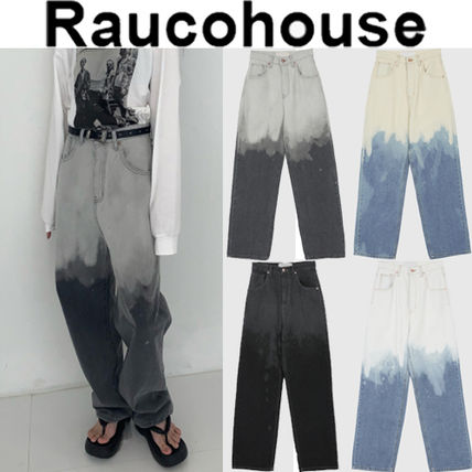 Raucohouse Unisex Street Style Logo Jeans