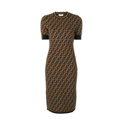 FENDI Medium Short Sleeves Logo Dresses
