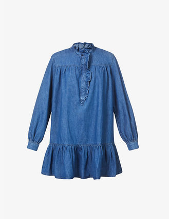 Short Casual Style A-line Denim Flared Long Sleeves Plain