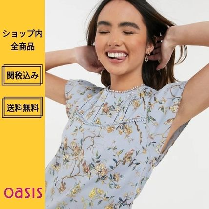 Oasis Shirts & Blouses Flower Patterns Casual Style Medium Short Sleeves Lace