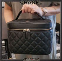 CHANEL TIMELESS CLASSICS Casual Style Calfskin Vanity Bags 2WAY Plain Leather