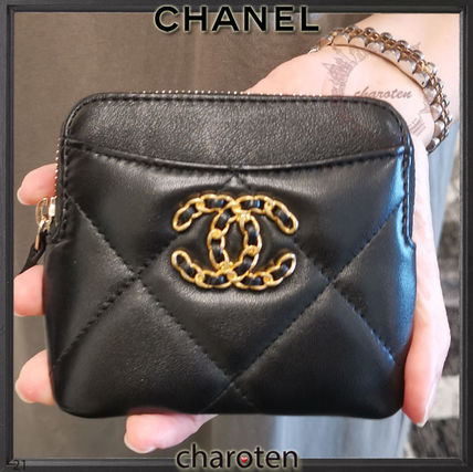 CHANEL ICON Unisex Lambskin Plain Leather Long Wallet  Logo Coin Cases