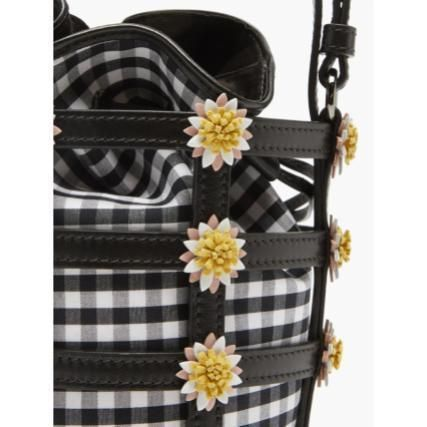 Crossbody Gingham Flower Patterns Casual Style 2WAY Leather