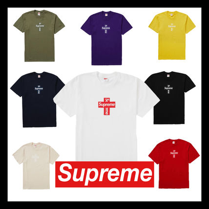 Supreme Unisex Street Style U-Neck Plain Cotton Short Sleeves Logo