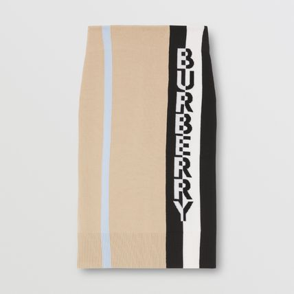 Burberry Pencil Skirts Casual Style Wool Elegant Style Logo Skirts