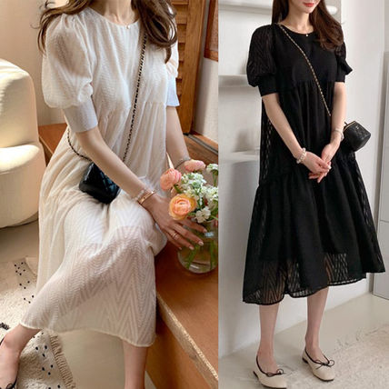 Maxi Long Lace Puff Sleeves Dresses