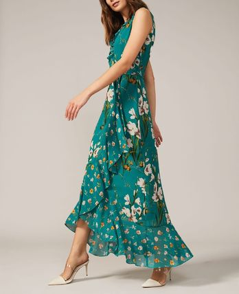 Wrap Dresses Flower Patterns Casual Style Maxi Sleeveless