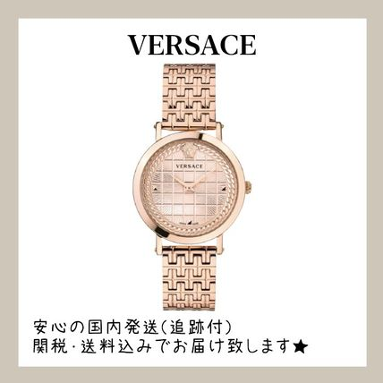 VERSACE Casual Style Leather Office Style Elegant Style