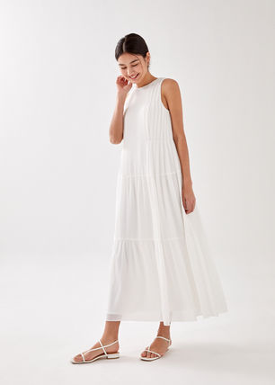 Casual Style Maxi A-line Sleeveless Flared U-Neck Plain Long