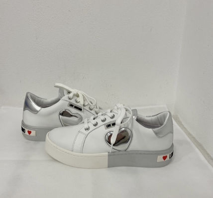 Heart Platform Round Toe Rubber Sole Casual Style Plain