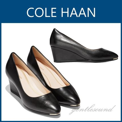 Cole Haan Plain Toe Plain Leather Office Style Elegant Style