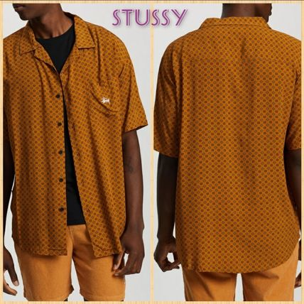 STUSSY Shirts Button-down Flower Patterns Street Style Short Sleeves