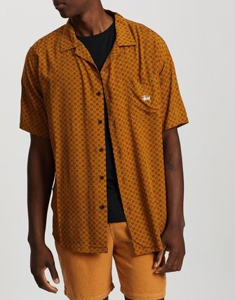 STUSSY Shirts Button-down Flower Patterns Street Style Short Sleeves 2