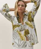Massimo Dutti Tropical Patterns Casual Style Linen Long Sleeves Cotton