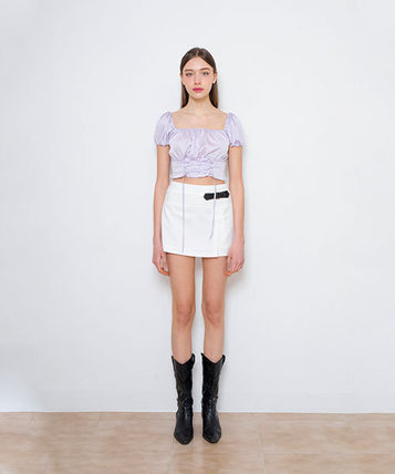 Short Casual Style Street Style Short Sleeves Cropped