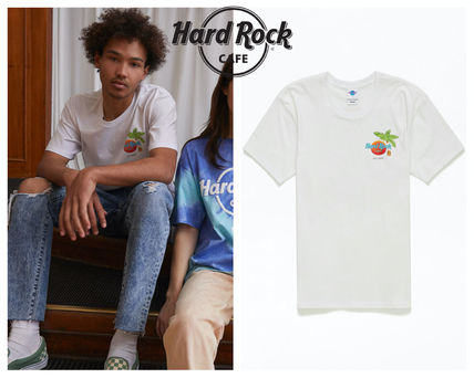Hard Rock Cafe Crew Neck Crew Neck Pullovers Tropical Patterns Unisex Blended Fabrics