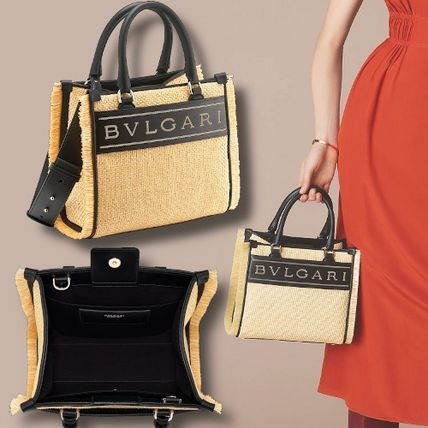 Logo Calfskin Blended Fabrics 2WAY Leather Straw Bags