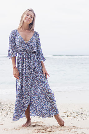 Wrap Dresses Flower Patterns Casual Style Dolman Sleeves
