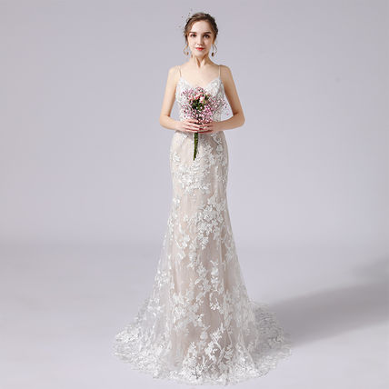 Flower Patterns Sleeveless V-Neck Long Bridal
