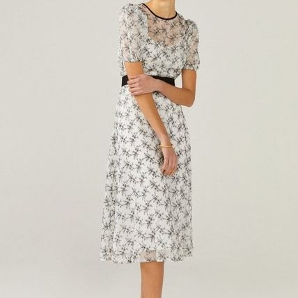 Flower Patterns Flared Long Short Sleeves Party Style