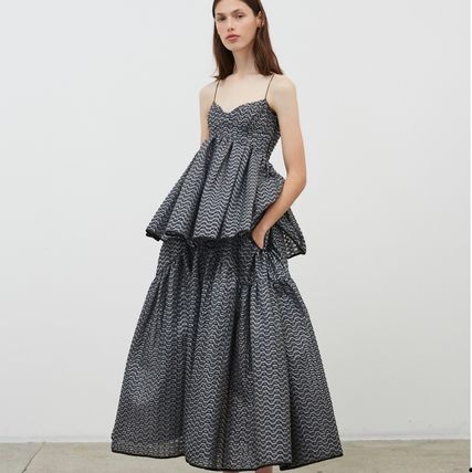 CECILIE BAHNSEN Flared Skirts Casual Style Long Elegant Style Maxi Skirts