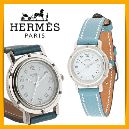 HERMES Round Formal Style  Bridal Leather Stainless Office Style