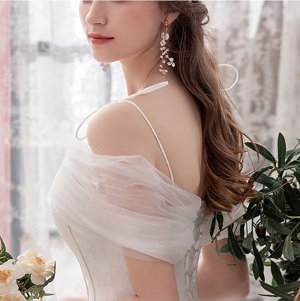 Flared Plain Long Bridal Wedding Dresses