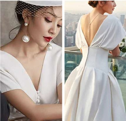 Flared V-Neck Plain Long Short Sleeves Puff Sleeves Bridal