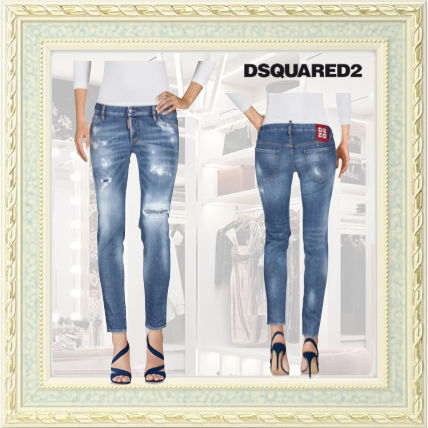 D SQUARED2 Street Style Cotton Logo Skinny Jeans