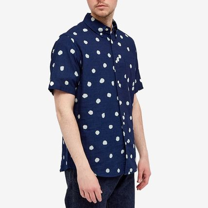 Logo Front Button Button-down Dots Short Sleeves