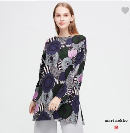marimekko Flower Patterns Dots U-Neck Cropped Long Sleeves Plain
