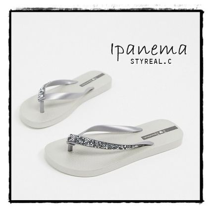 IPANEMA Flat Casual Style Street Style Plain Flip Flops With Jewels