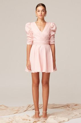 Short Casual Style Linen Flared V-Neck Plain Party Style