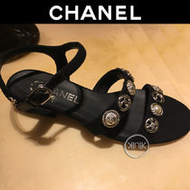 CHANEL Open Toe Casual Style Tweed Blended Fabrics Plain
