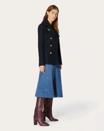 VALENTINO Logo Wool Plain Medium Peacoats