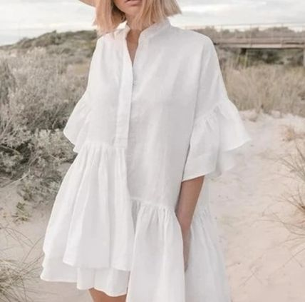Casual Style Plain Short Sleeves Oversized Puff Sleeves Tops