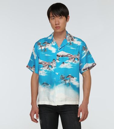 Button-down Tropical Patterns Silk Street Style