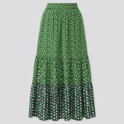 UNIQLO Flower Patterns Casual Style Tired Skirts