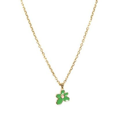 Flower Patterns Street Style Logo Necklaces & Chokers