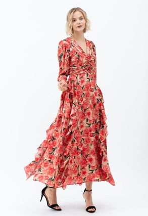Formal Style  Flower Patterns Casual Style Maxi V-Neck