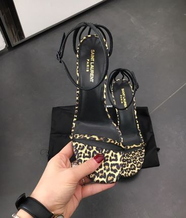 Saint Laurent Leopard Patterns Open Toe Leather Logo