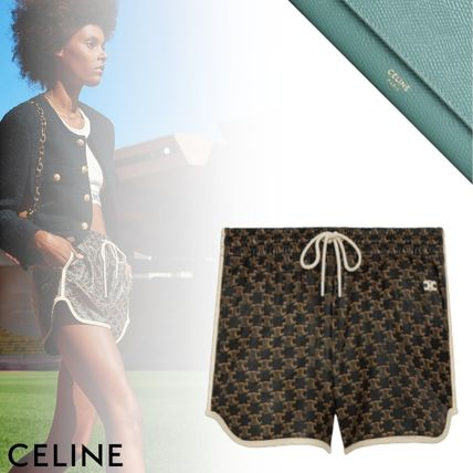 CELINE Athletic Shorts In Leather With Monogram