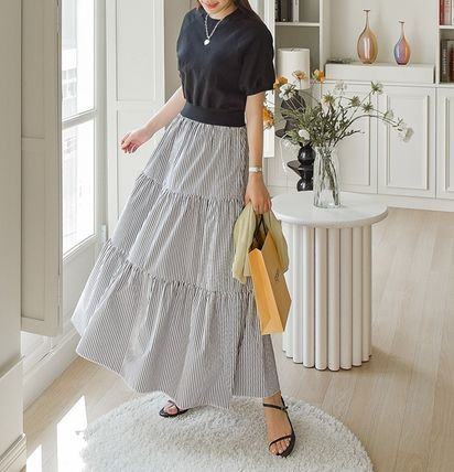 Maxi Long Puff Sleeves Tired Dresses