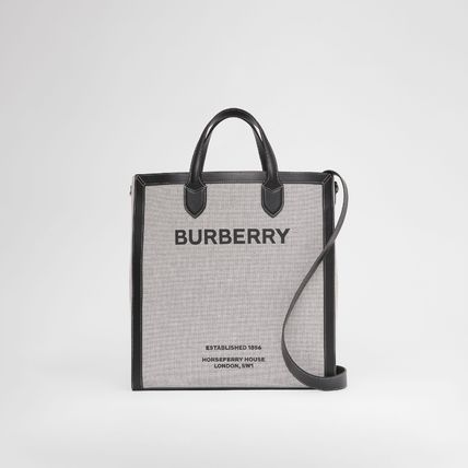 Canvas Logo Unisex Blended Fabrics A4 2WAY Leather Totes