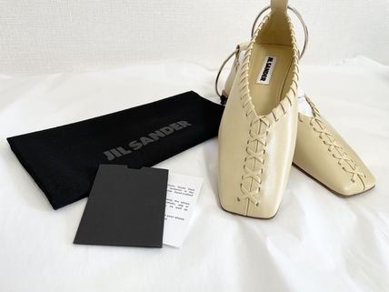 Jil Sander Square Toe Round Toe Casual Style Plain Leather Party Style