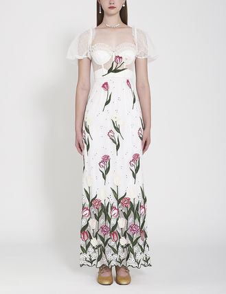 Flower Patterns Casual Style Maxi Cotton Long Short Sleeves