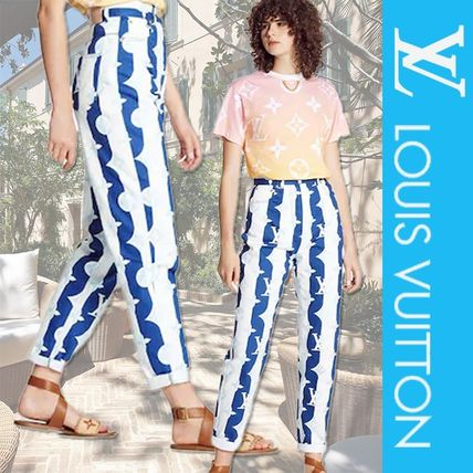 Louis Vuitton MONOGRAM Printed Pants Stripes Monogram Casual Style Street Style